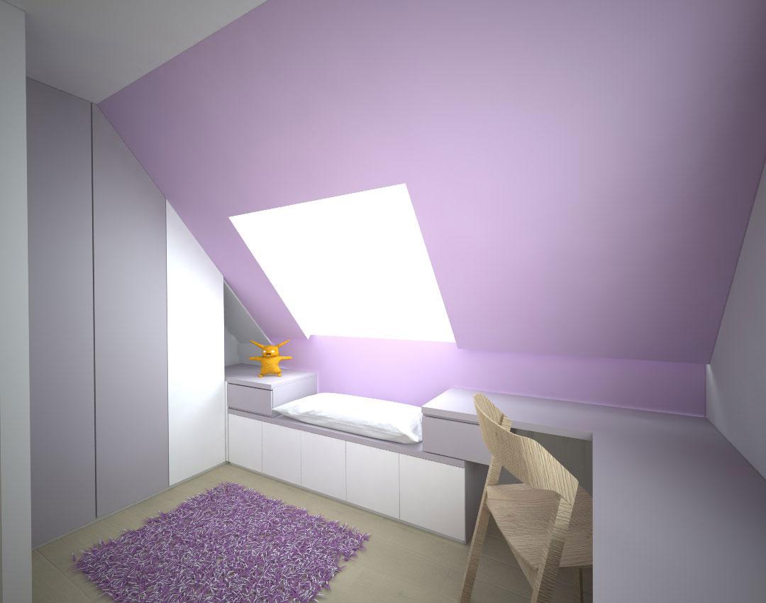 Dětský pokoj s psacím stolem a vestavěnou skříní