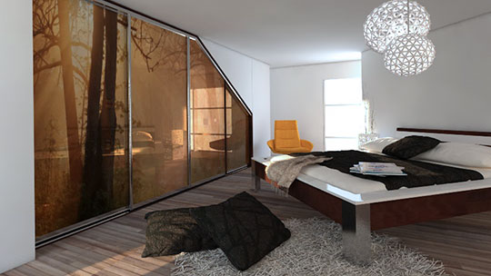 Skříň s posuvnými dveřmi a postelí do ložnice.
