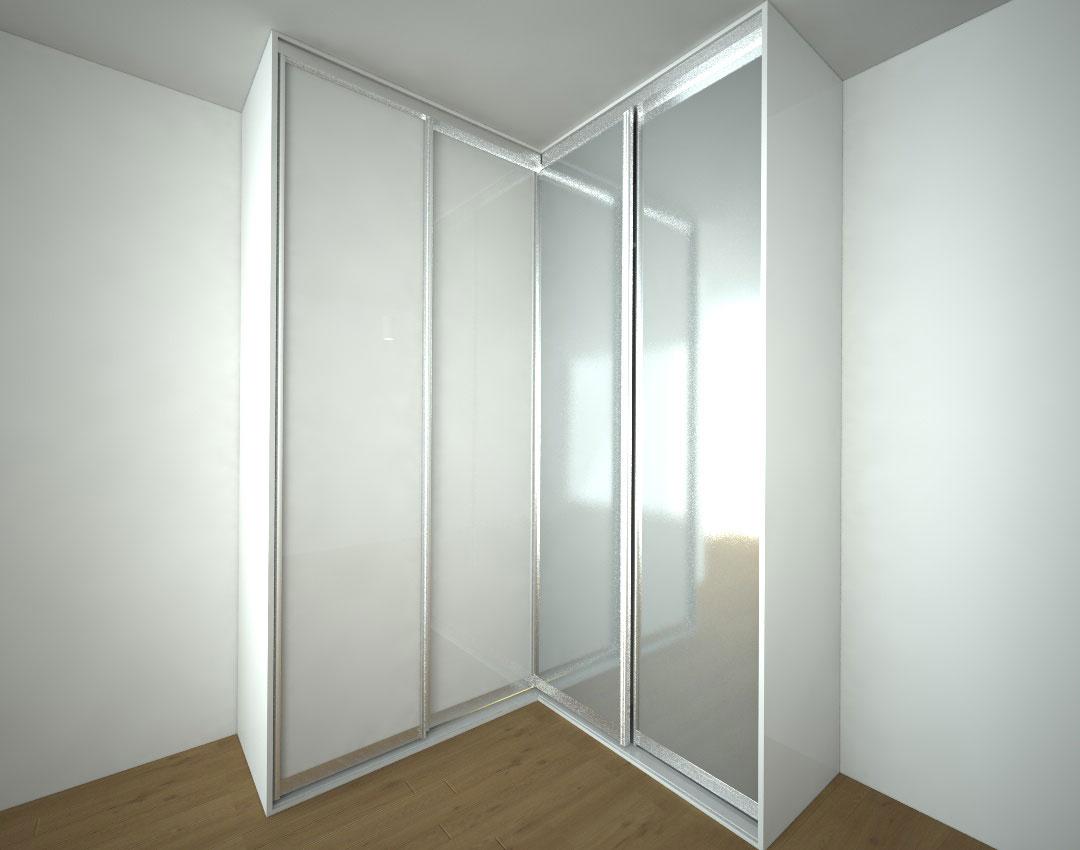 Skříň na míru s posuvnými zrcadlovými a bílými dveřmi