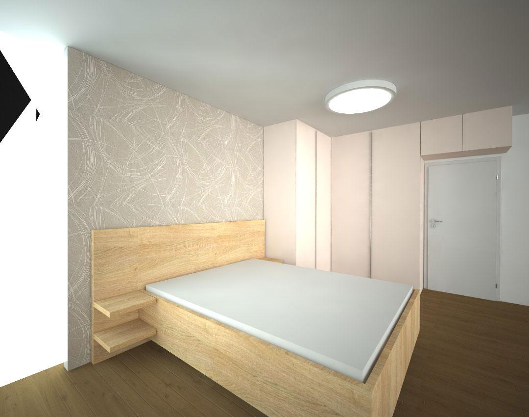 Pantová skříň na míru do rohu do ložnice s nástavcem nad dveře