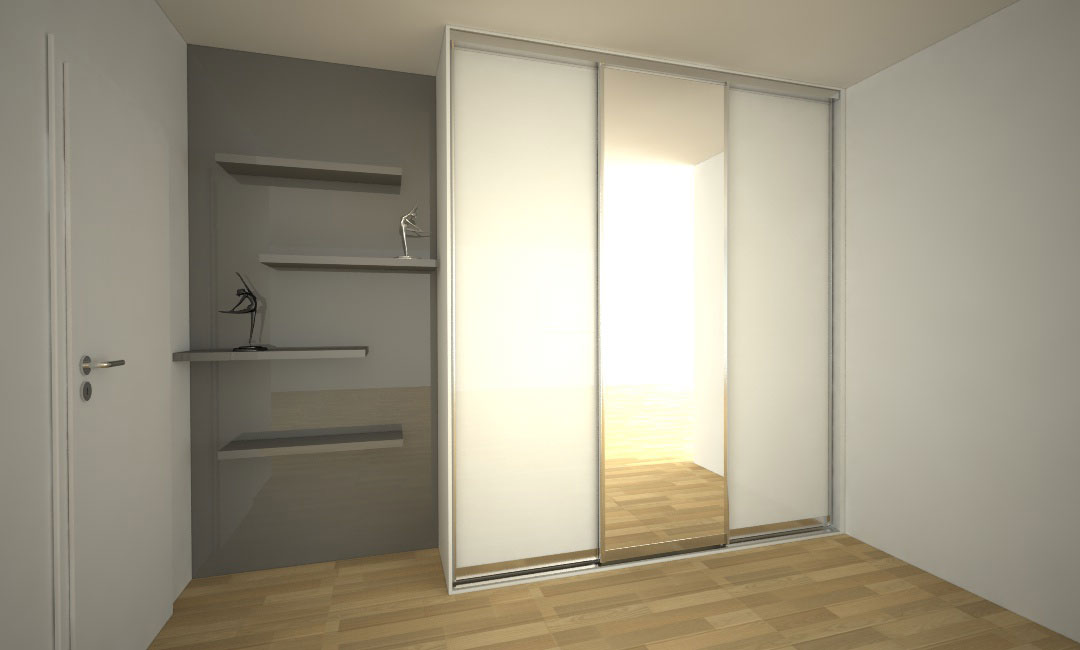 Vestavěná skříň s posuvnými dveřmi a policemi se skrytým uchycením