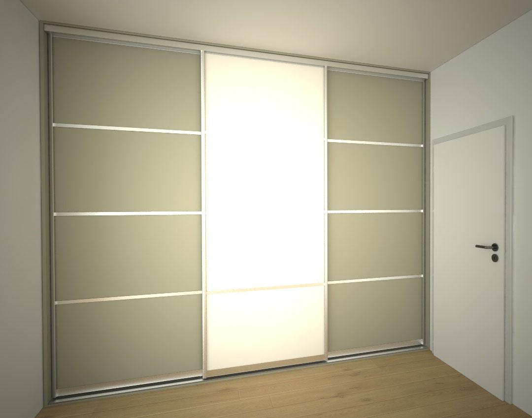 Skříň na míru s posuvnými dveřmi s horizontálním dělením