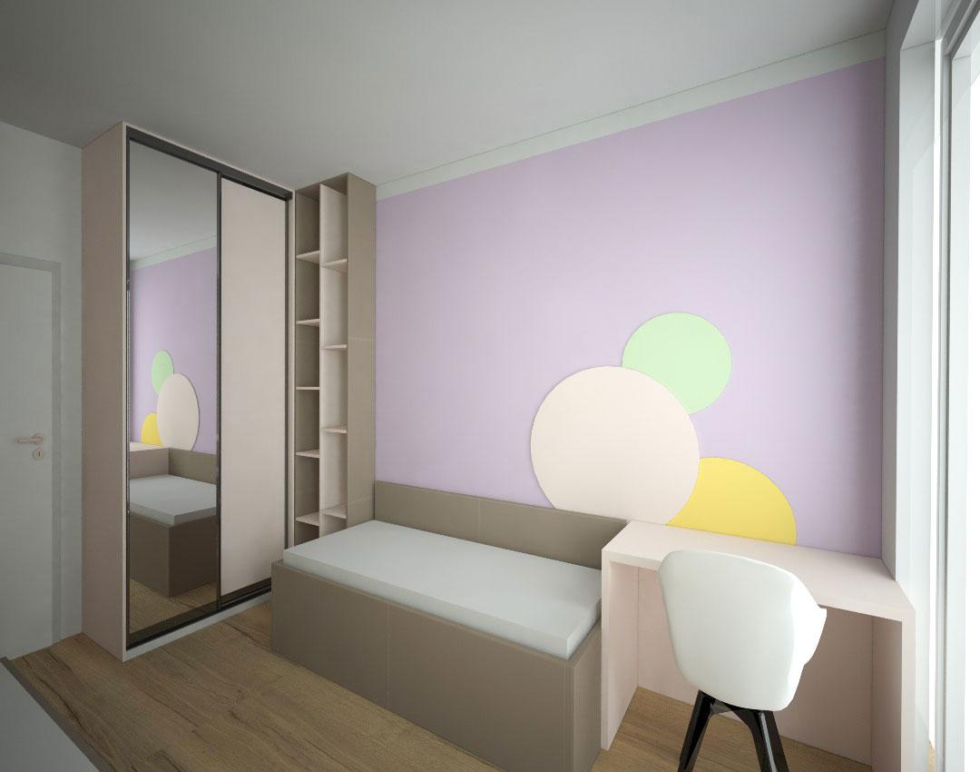 Rohová skříň na míru do dětského pokoje s pantovými dveřmi a otevřenými policemi
