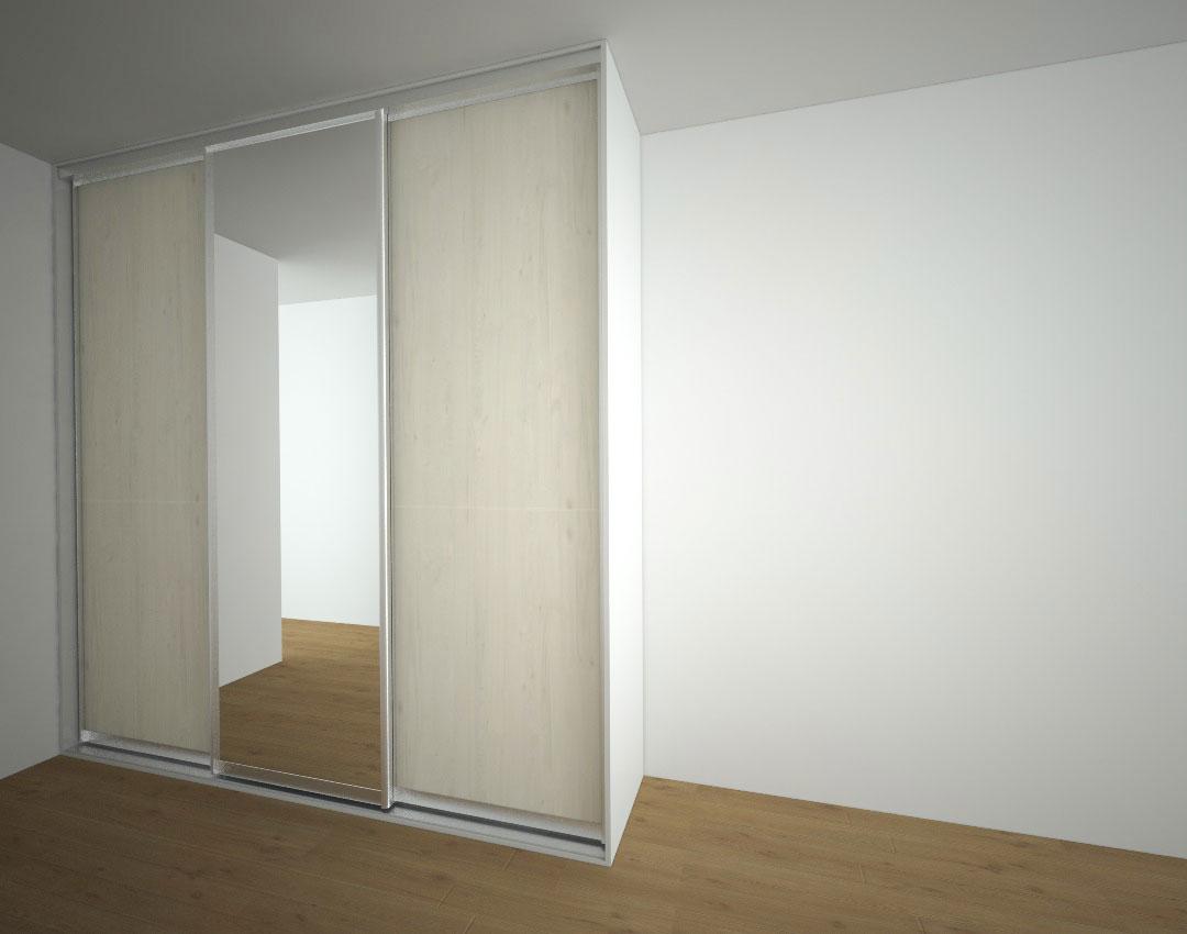 Vestavěná skříň s posuvnými dveřmi s jedním zrcadlem