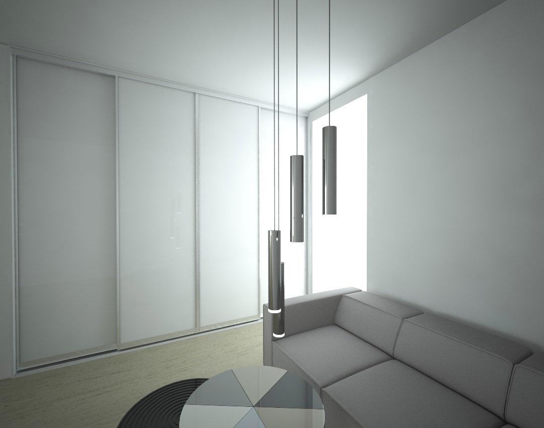 Skříň na míru s posuvnými dveřmi do obývacího pokoje