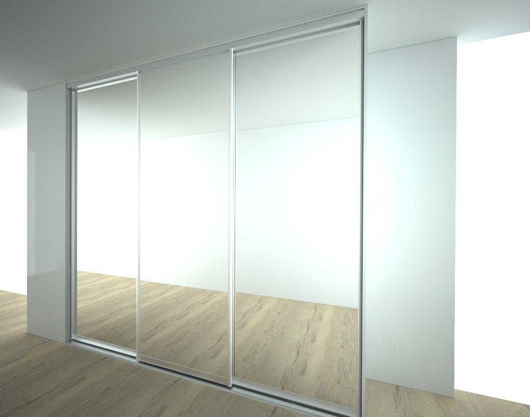 Vestavěná skříň s posuvnými zrcadlovými dveřmi