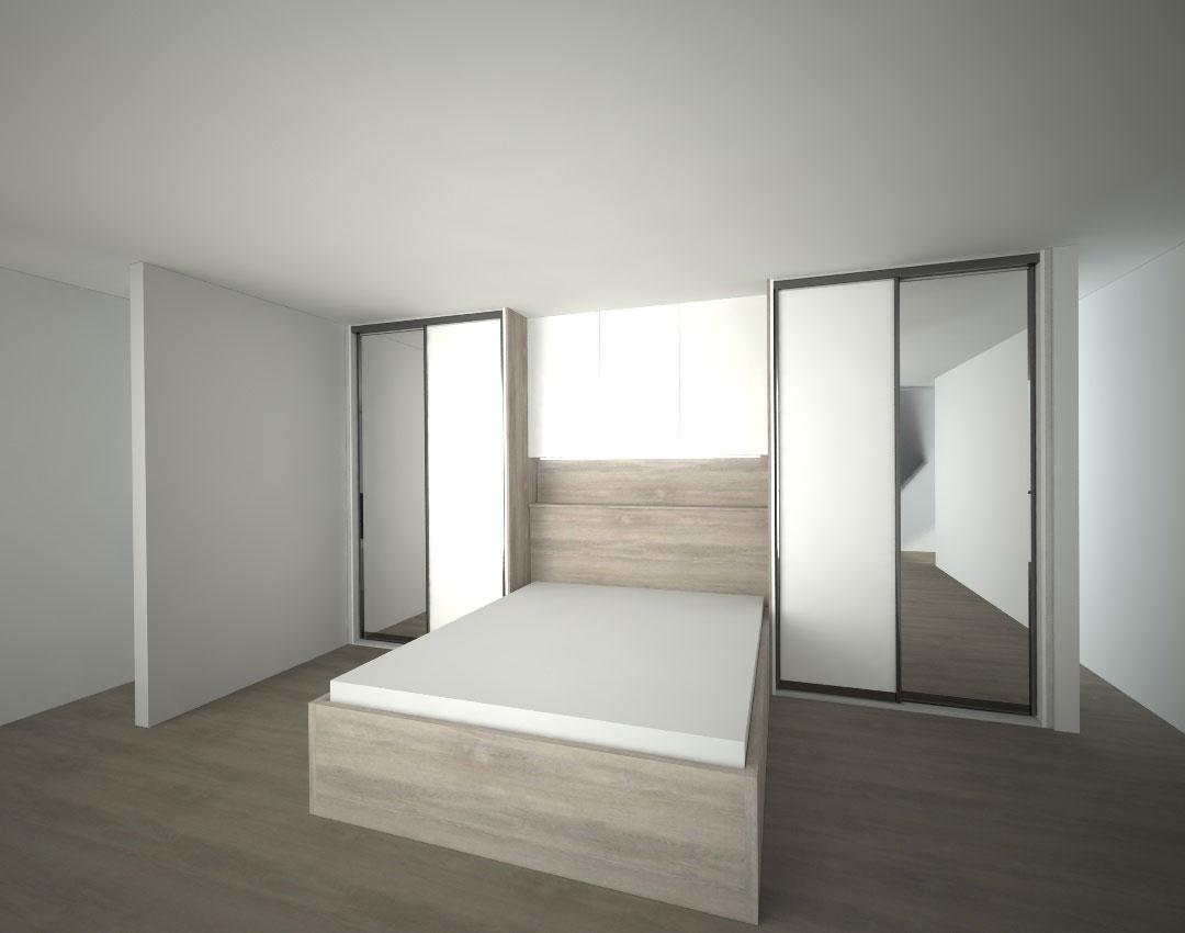 Vestavěné skříně do ložnice s postelí