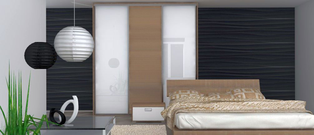 Vestavěná skříň do ložnice s posuvnými dveřmi a postelí