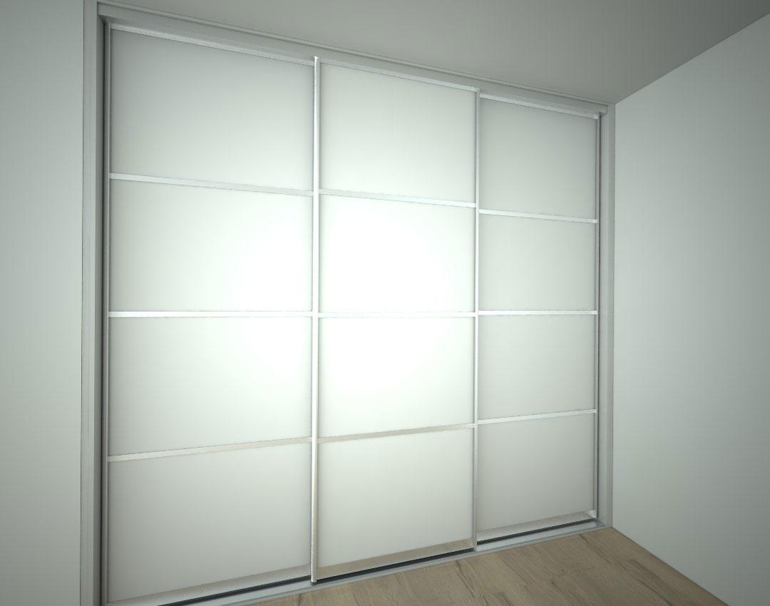Vestavěná skříň na míru se třemi posuvnými dveřmi