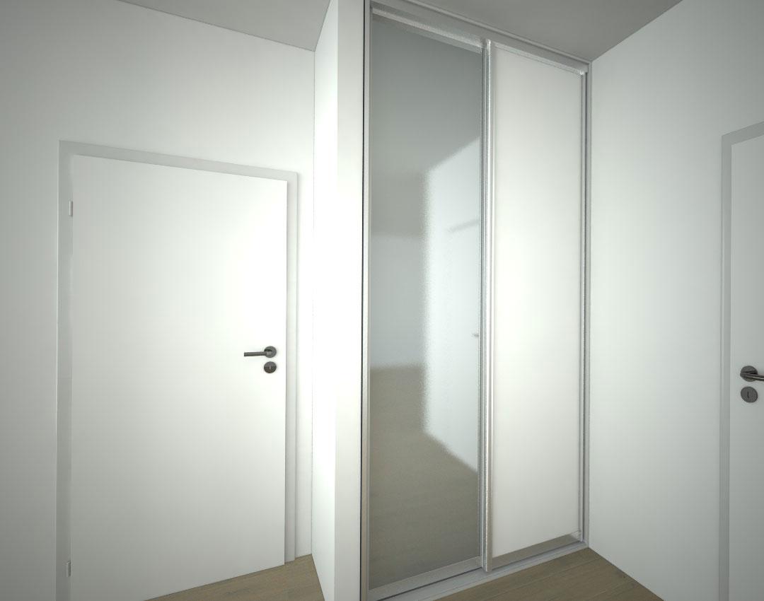 Vestavěná skříň s bílými a zrcadlovými posuvnými dveřmi