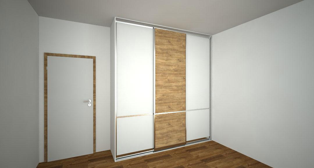 Skříň na míru s třemi posuvnými dveřmi s dělením