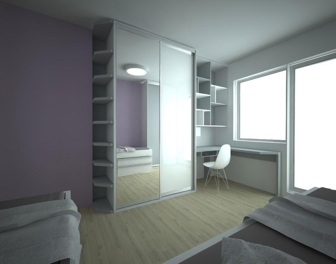 Vestavěná skříň se zrcadlovými a bílými dveřmi do dětského pokoje s psacím stolem a otevřenými policemi.