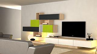 Členitá obývací stěna na míru