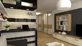 Nábytek na míru do obývacího pokoje s kuchyňským koutem