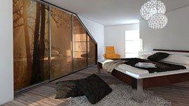 Vestavěná skříň do podkroví s postelí