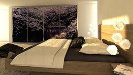 Nábytek na míru do ložnice s potiskem