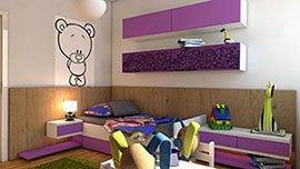Nábytek do dětského pokoje s postelí.