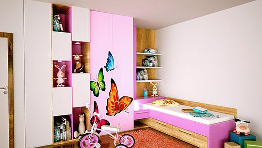 Návrhy dětský pokojů a kompletních interierů.
