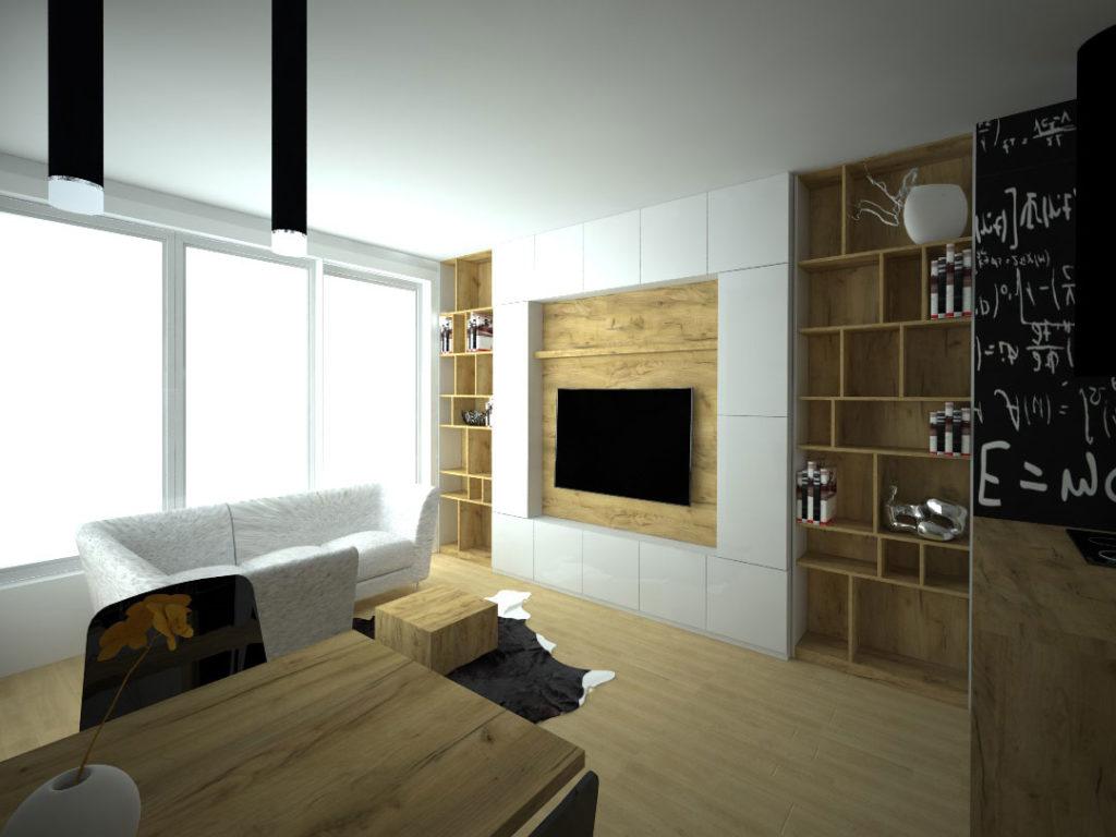 Návrh kompletního interieru vč. obývací stěny Praha 4