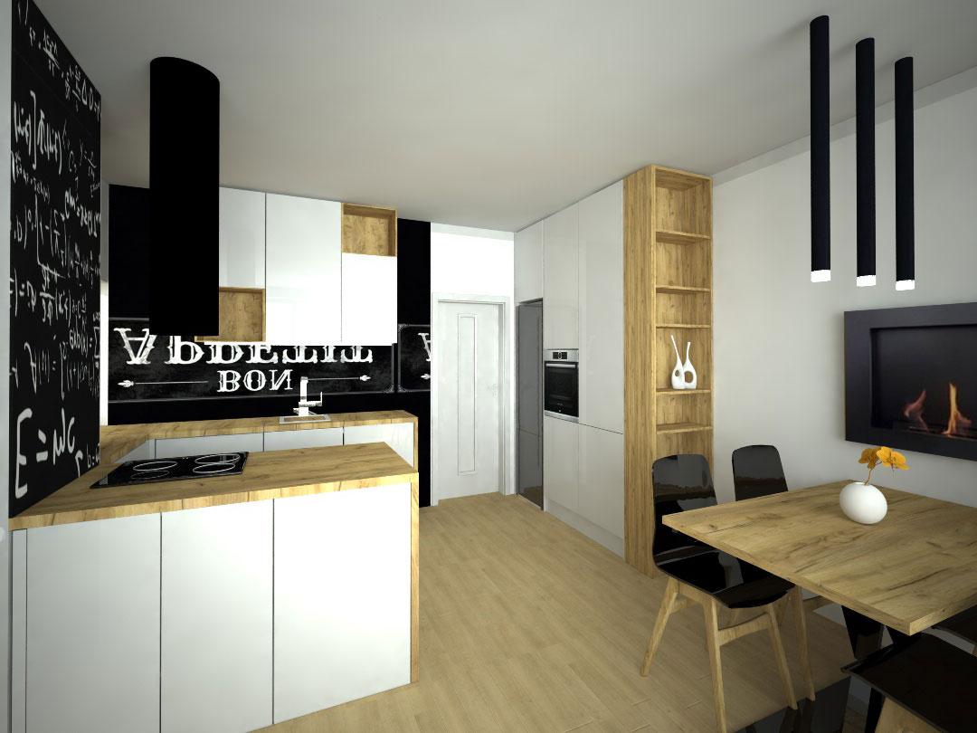 Návrh kompletního interieru vč. kuchyně a jídelního stolu Praha 4