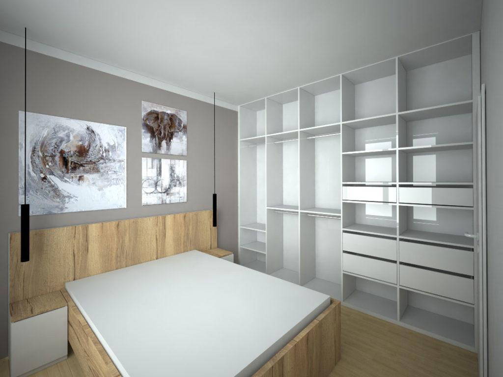 Návrh kompletního interieru vč. vestavěné skříně do ložnice Praha 4