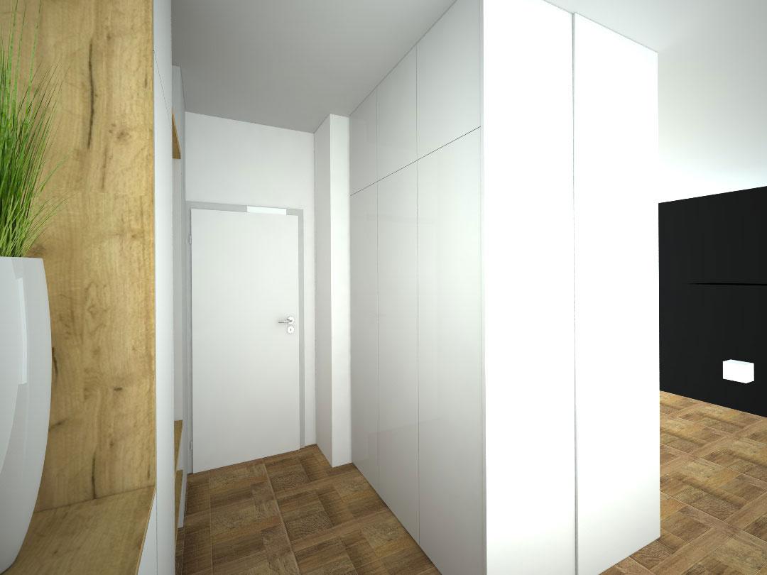 Návrh kompletního interieru vč. skříně do chodby Praha 4
