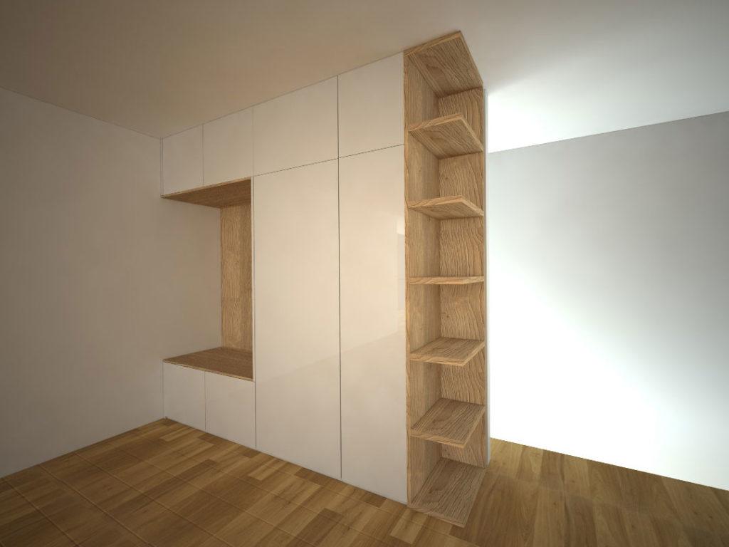 Návrh kompletního interieru vč. skříně s věšákovou stěnou do chodby Praha 10