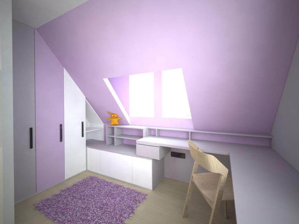 Návrh kompletního interieru vč. šikmé skříně do podkroví Praha 10