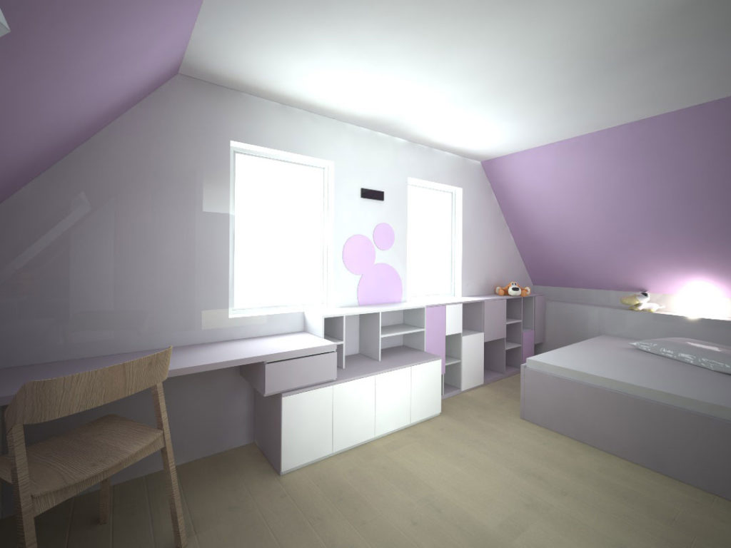 Návrh kompletního interieru vč. psacího stolu do dětského pokoje Praha 10