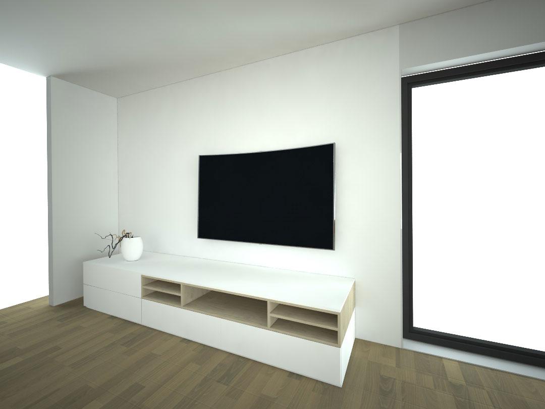 Návrh kompletního interieru vč. obývací stěny Praha 6