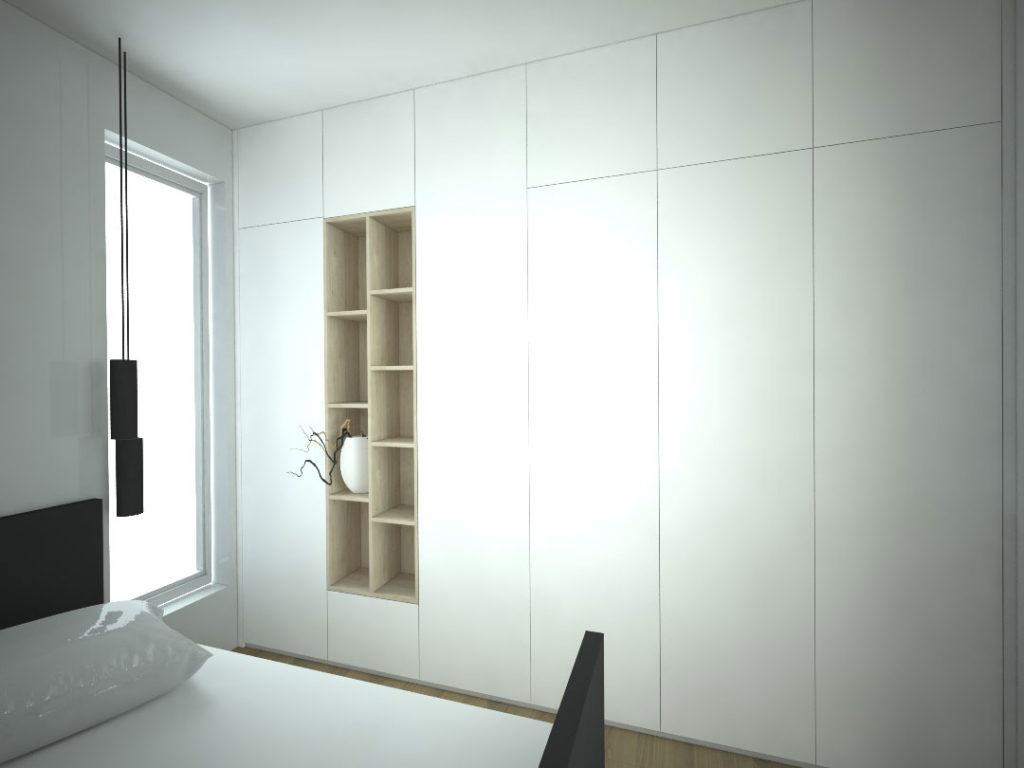 Návrh kompletního interieru vč. vestavěné skříně do ložnice Praha 6