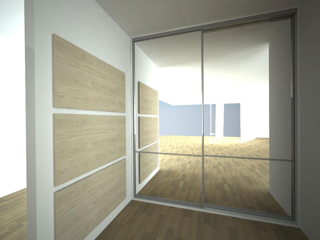Návrh kompletního interieru vč. zrcadlové skříně do chodby Praha 6