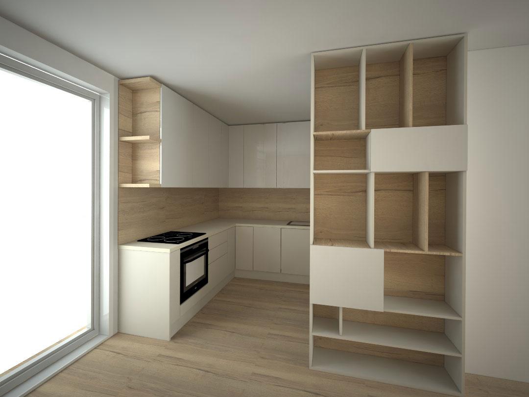 Návrh kompletního interieru vč. kuchyně Praha 8