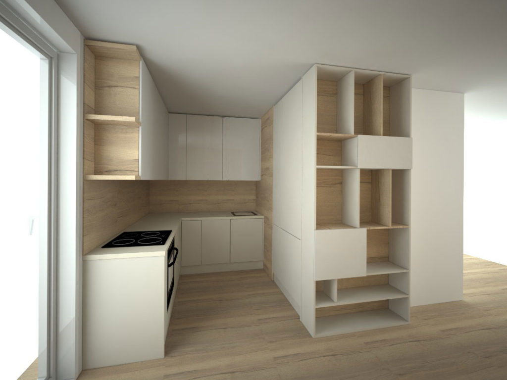 Návrh kompletního interieru vč. kuchyně s knihovnou Praha 8