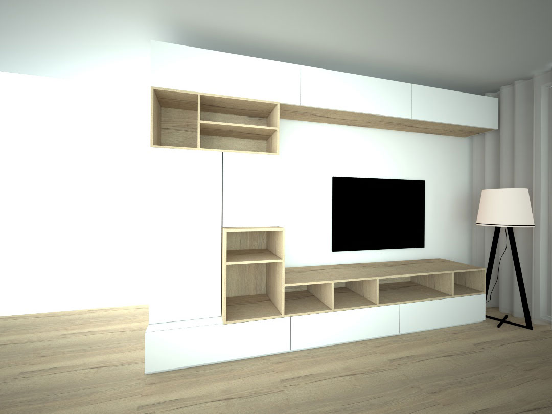 Návrh kompletního interieru vč. obývací stěny Praha 8