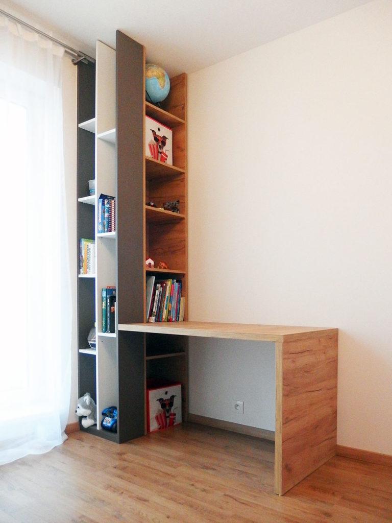 Realizace kompletního interieru vč. otevřené knihovny do studentského pokoje Praha 9