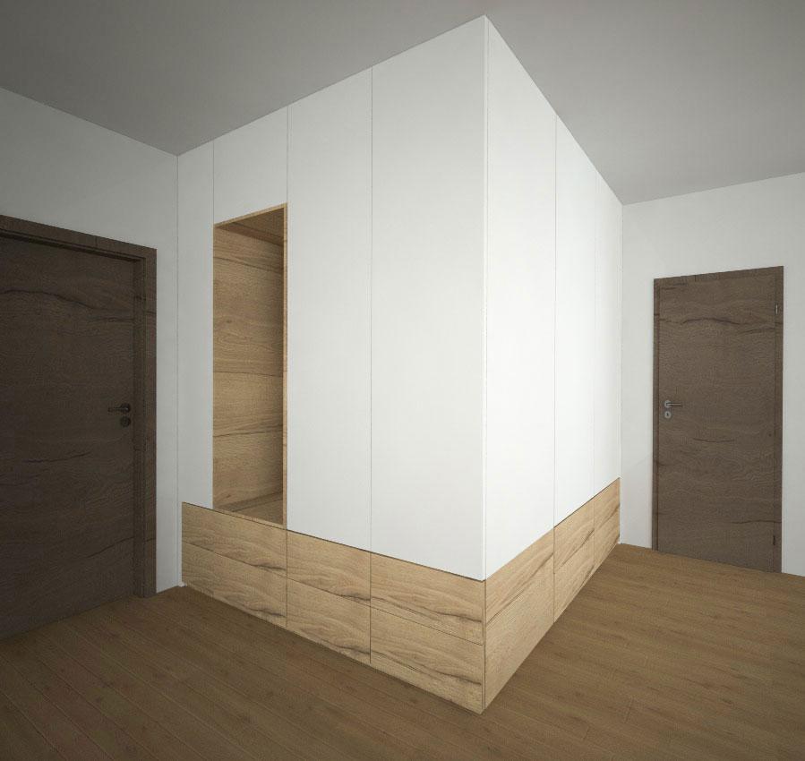 Vestavěná skříň s pantovými dveřmi rohová se zásuvkami v dřevodekoru
