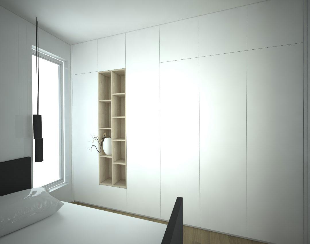 Vestavěné skříň s bílými pantovými dveřmi a otevřenou dřevěnou policovou částí