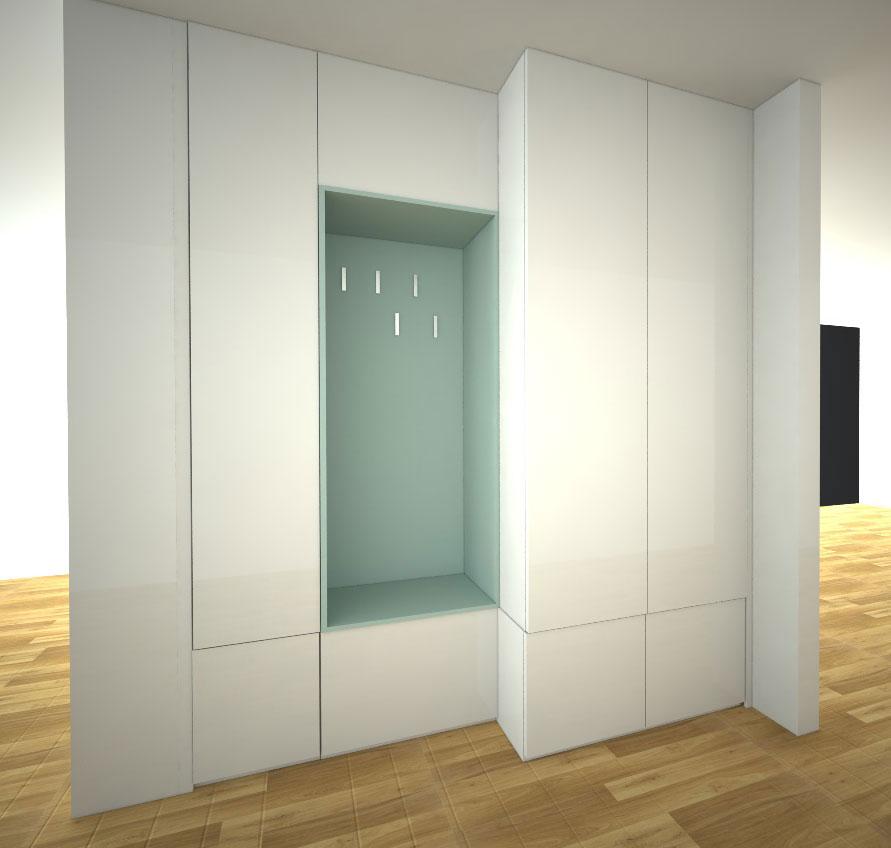 Skříň na míru s pantovými dveřmi ve dvou hloubkách s otevřenou částí s věšáky