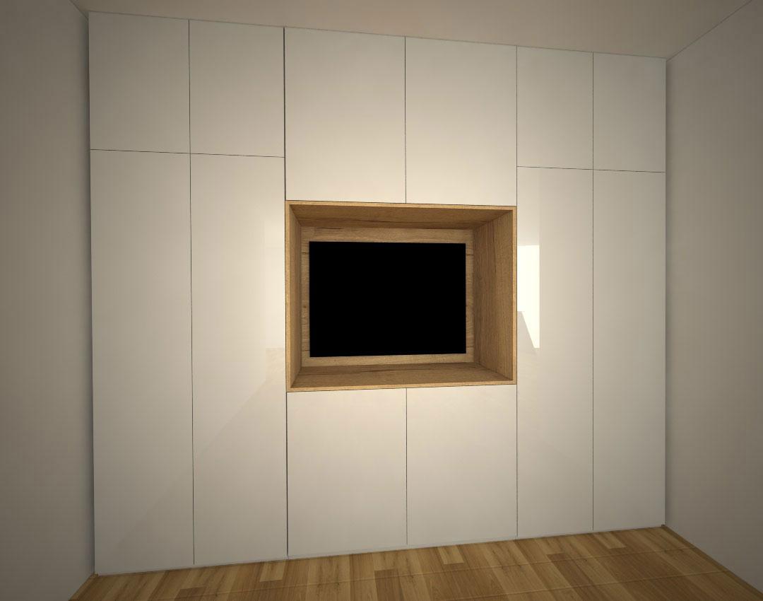 Skříň s pantovými dveřmi a otevřeným prostorem pro televizi