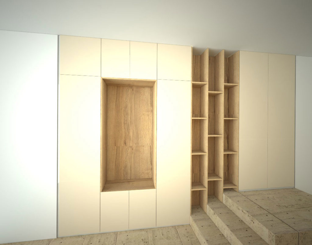 Vestavěná skříň s pantovými dveřmi do chodby na schodiště