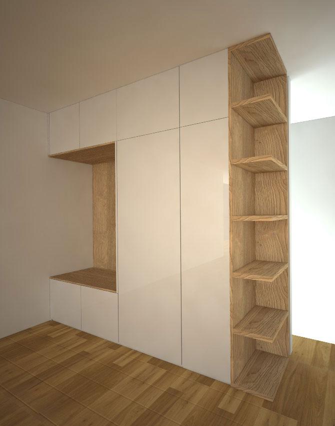 Pantová skříň na míru do chodby s prostorem na věšáky a otevřenými policemi v rohu