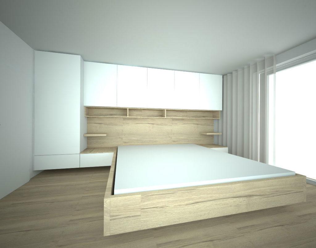 Pantová skříň do ložnice kolem postele