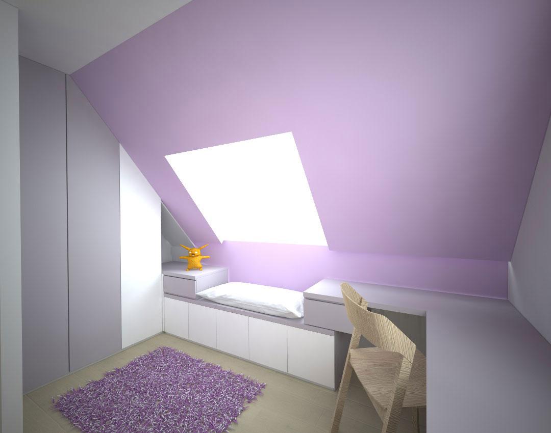 Pantová skříň do dětského pokoje v podkroví s psacím stolem