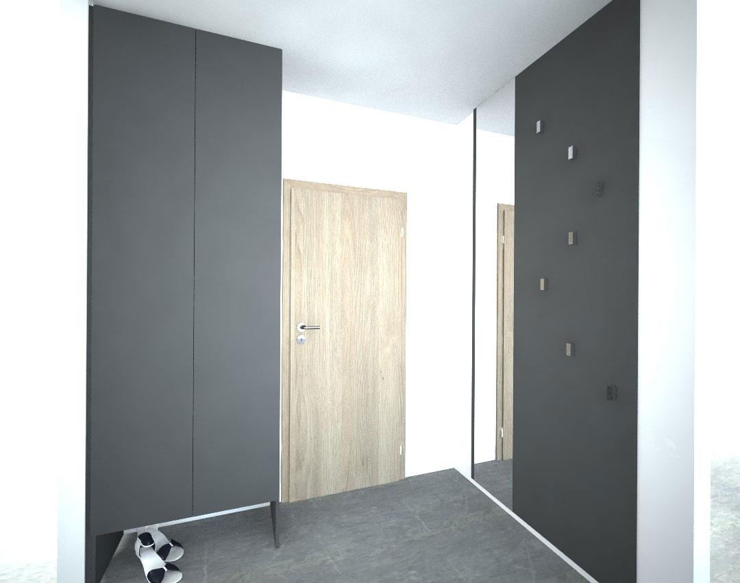 Vestavěná skříň na míru s pantovými dveřmi do vstupní chodby a deskou na věšáky