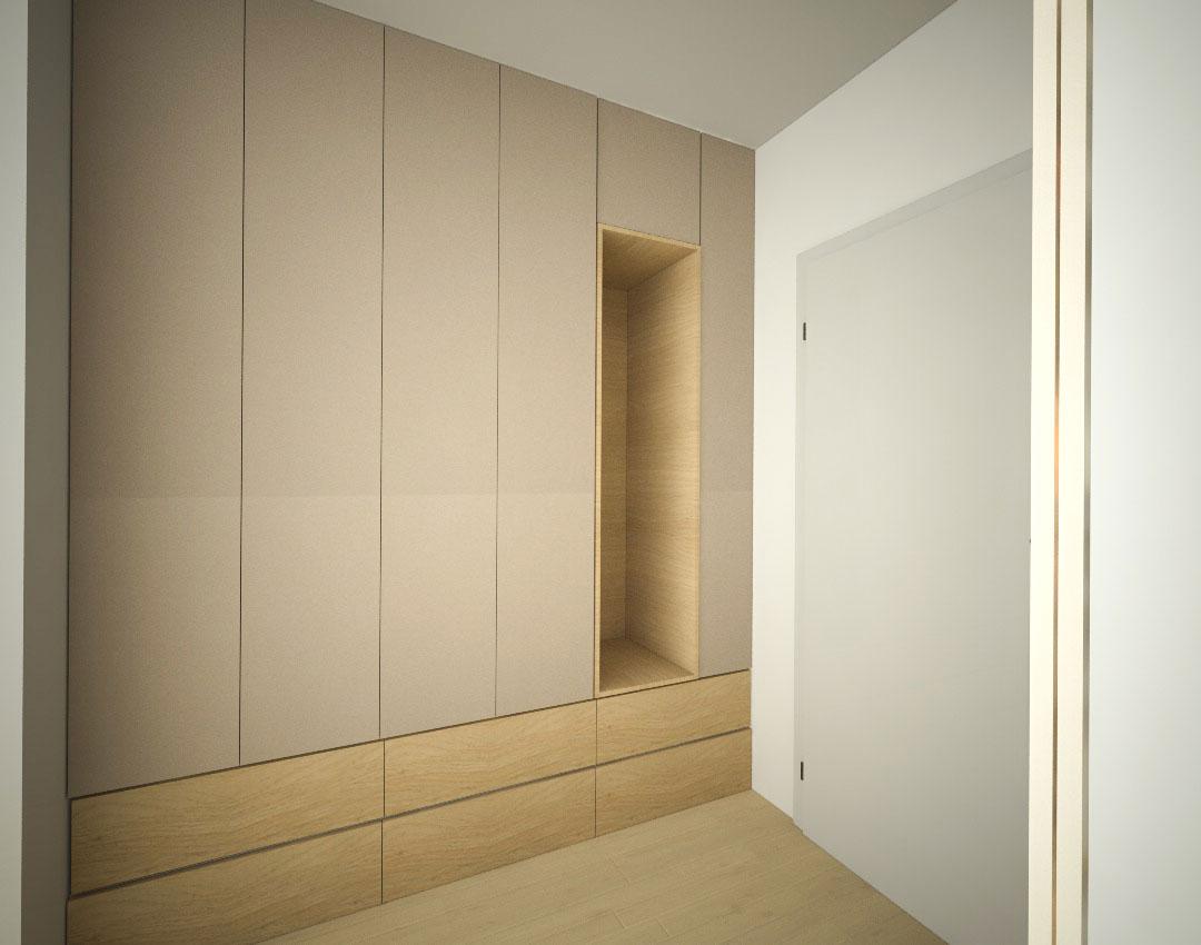 Vestavěná skříň do chodby s pantovými dveřmi, otevřenou částí na háčky a zásuvkami