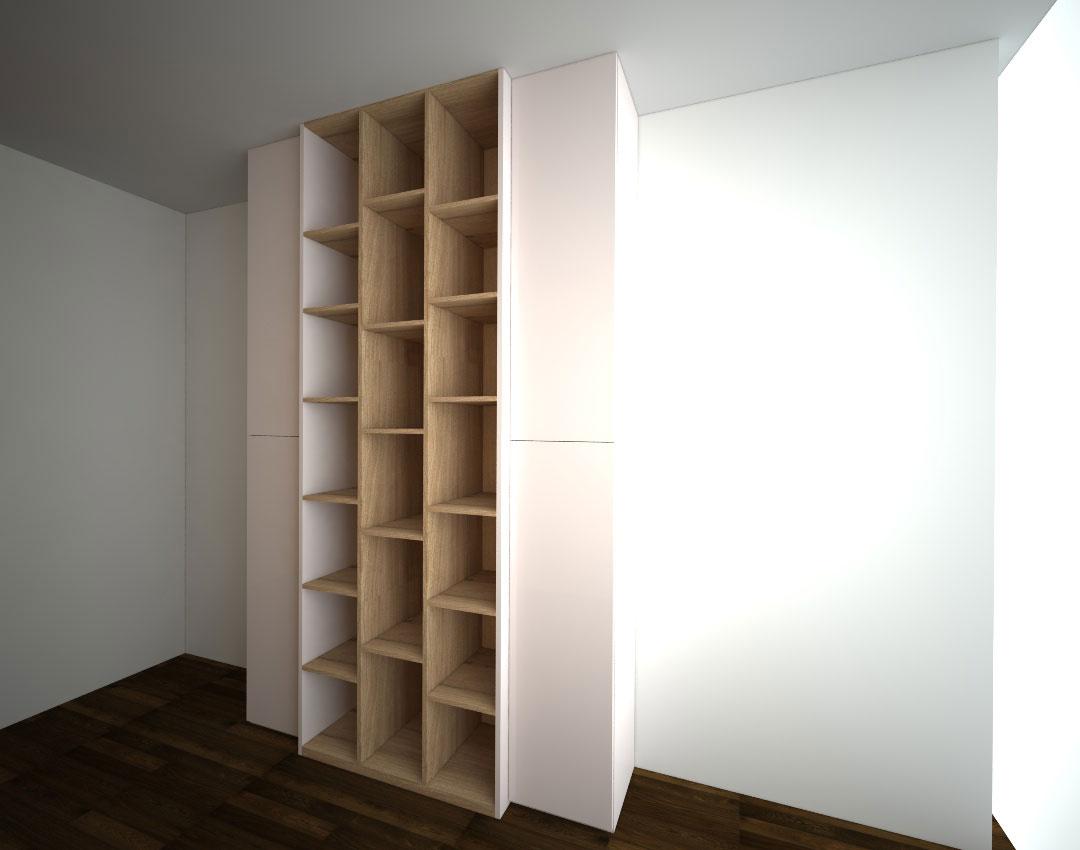 Pantová skříň na míru s vystupující otevřenou částí