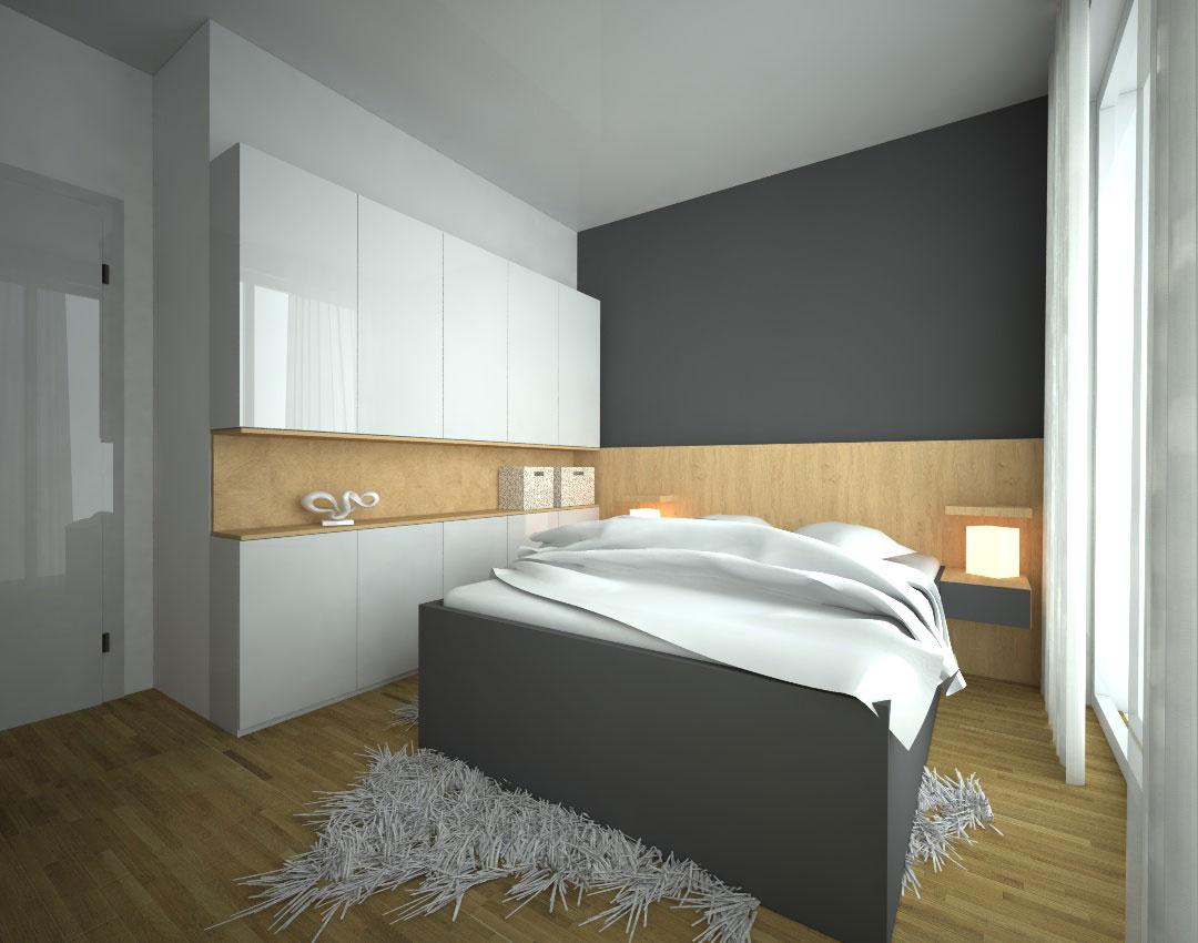 Pantová skříň do ložnice s otevřenou středovou částí a postelí s nočními stolky