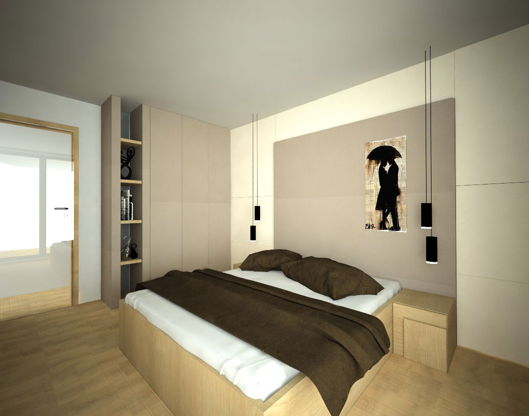 Vestavěná skříň na míru s pantovými dveřmi do ložnice s postelí a nočními stolky