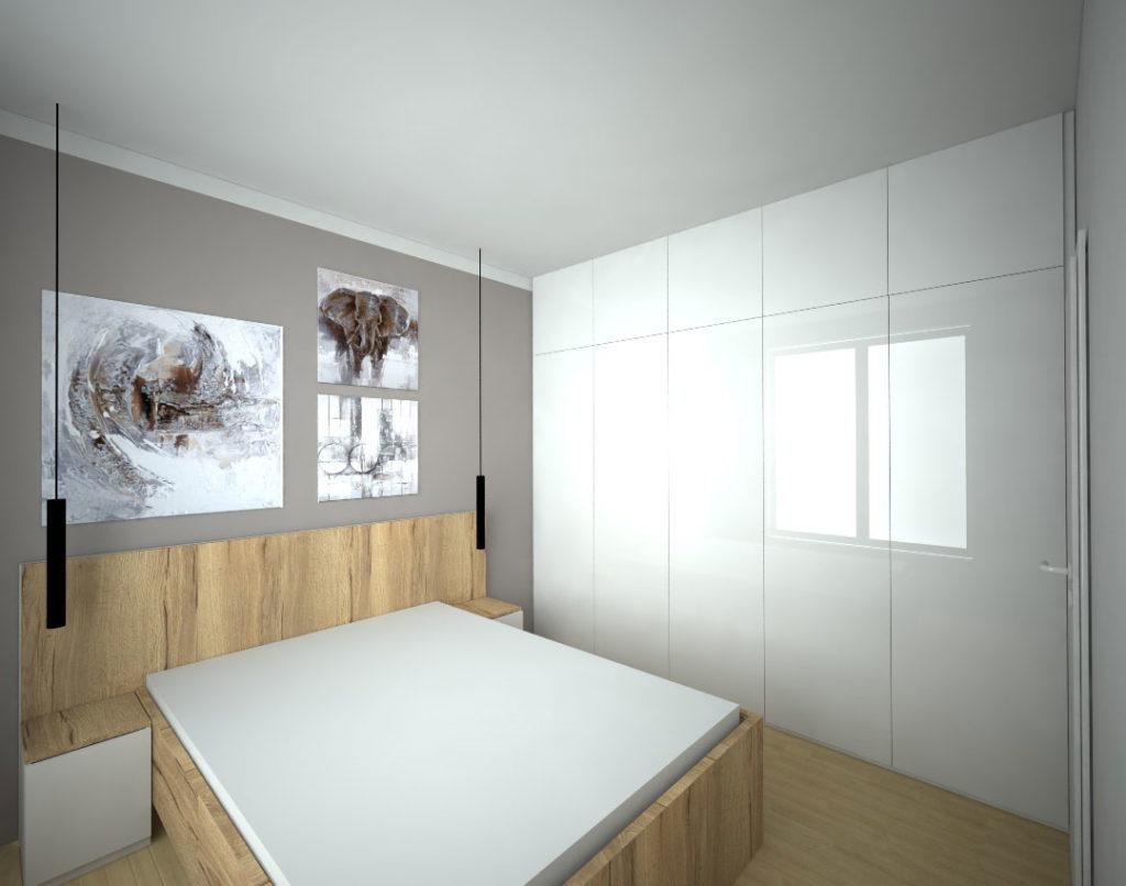 Vestavěná skříň s pantovými dveřmi ve vysokém lesku s postelí do ložnice